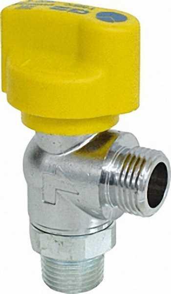 Gasabsperrkugelhahn DN 15 1/2'' für Schlauchanschluss Eckform mit TAS