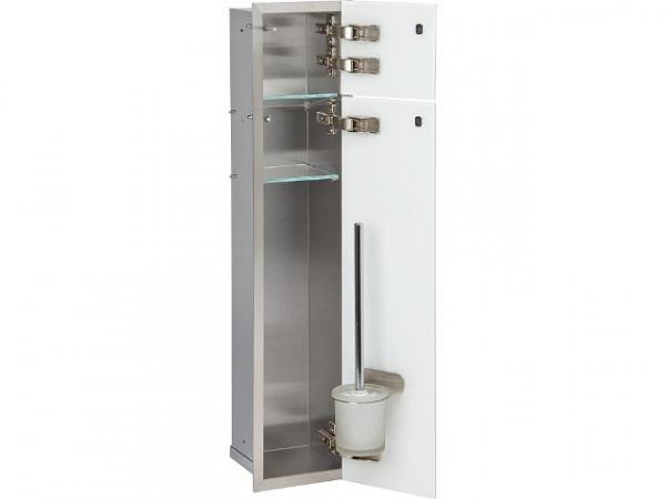 WC- Wandcontainer, 2 weiße Glastüren, 1 Papierrollenfach + 1 fach, B x H:180 x 825 mm, Anschlag rech
