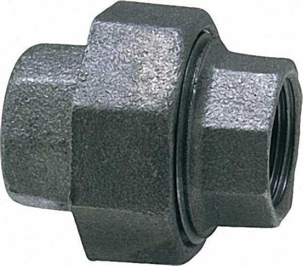 Tempergussfitting, schwarz Verschraubung 3/4'' (i/i) Typ 330, flachdichtend
