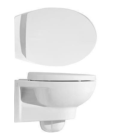 Wand-tiefspül-wc Vanessa, aus Keramik, spülrandlos, weiß, BxHxT:355x36