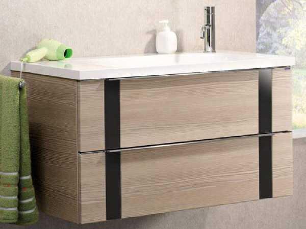 LANZET 7271612 VEDRO Waschtischunterschrank: + Becken 89x48x49 pinie/schwarz, 2 Schubladen
