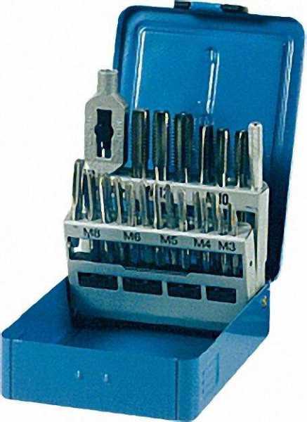 Handgewindebohrersatz mit Gewindebohrern M 3 - M 12 in Stahlblechkassette