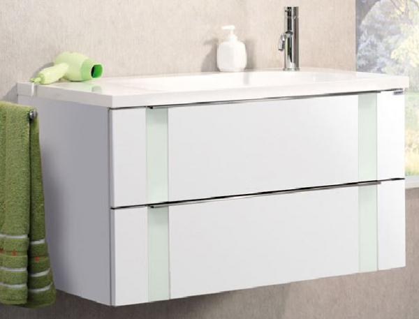 LANZET 7271312 VEDRO Waschtischunterschrank: + Becken 89x48x49 weiß/mint, 2 Schubladen