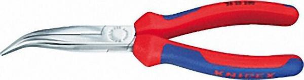 Flachrundzange mit Schneide verchromt mit zweifarbigen Mehrkomponenten Griffhüllen 40° gewinkelte Ba