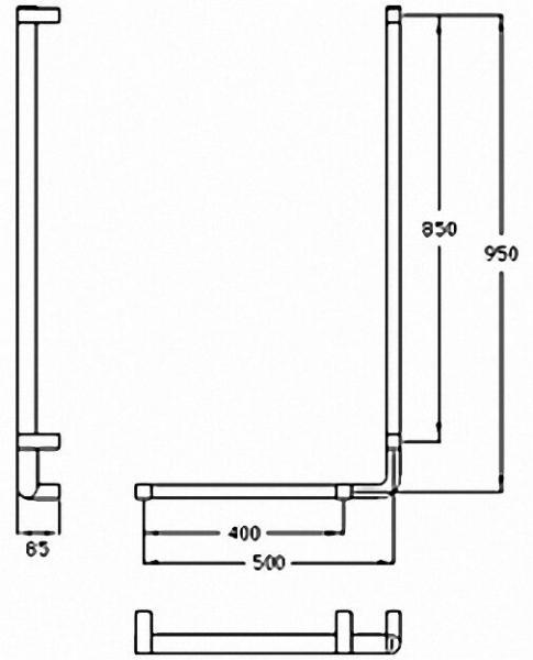 Winkelgriff Serie Cavere aus Alu., Anthrazit-Metallic 95, 950x500mm, 90°, rechte Ausführung