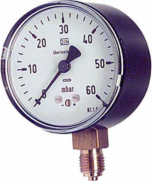 Kapselfedermanometer KP 63. 3 1/4'' rad. 0-60 mbar