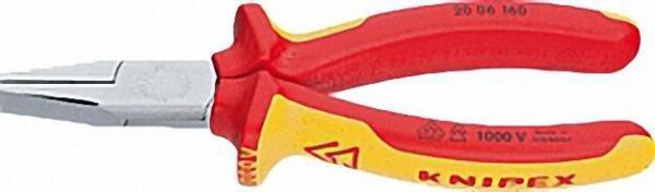 Flachzange verchromt VDE isoliert mit zweifarbigen Mehr- komponenten-Griffhüllen Länge 160mm