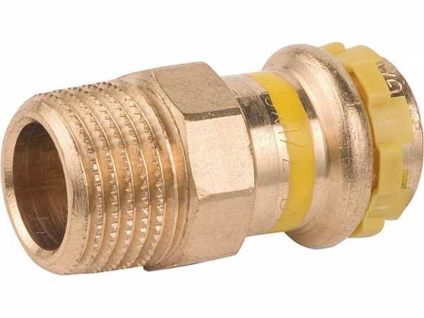Rotguß Pressfitting Gas Übergangsnippel mit AG 15x1/2 PG 4243G Gas