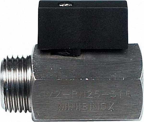 Mini-Kugelhahn, edelstahl AISI 316, IG x AG 1/2'' mit kurzem Hebel