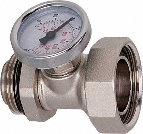Anschlussverschraubung DN 25 selbstdichtend mit drehbarem Thermometer