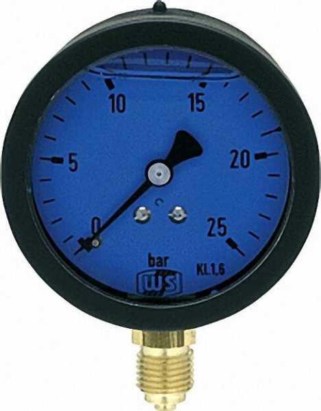 Öldruckmanometer mit Glyzerin- dämpfung 0-25 bar 63mm 1/4'' unten