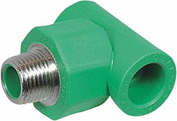 PPR Rohr Aqua-Plus T-Stück AG PN25 20mmx1/2''x 20mm