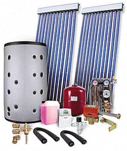 Solaranlage mit Brauchwasser und Heizungsunterstützung 12,30 m², ohne Speicher