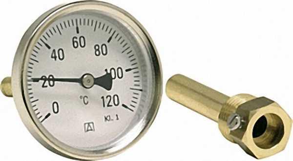 AFRISO Bimetall-Industriethermometer DN 15 (1/2''), Kl. 1,0/60°C BiTh 120 I D211