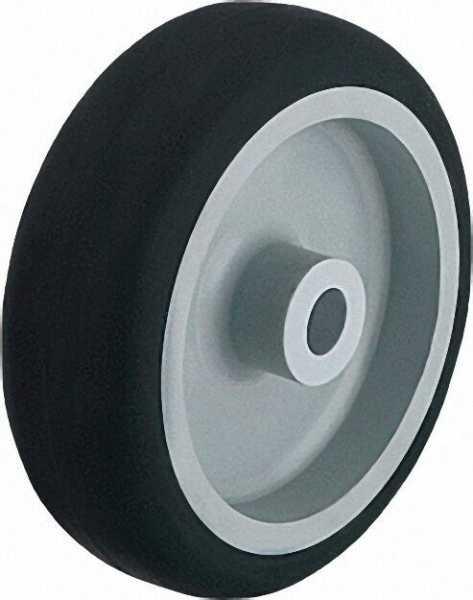 BLICKLE Räder mit thermoplastischem Gummi-Laufbelag, Tragfähigkeit 80 kg Rad D= 100mm, Achse 8mm
