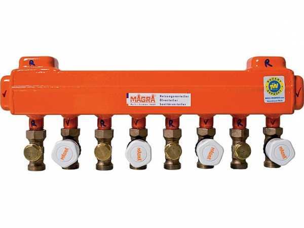 MAGRA Fussbodenheizungsverteiler 9 Heizgruppen 60/60 mit montierten Ventilen 10200600916