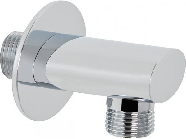 Design-Wandanschlussbogen 90Gr verchromt ovale Ausführung mit Rückflussverhinderer
