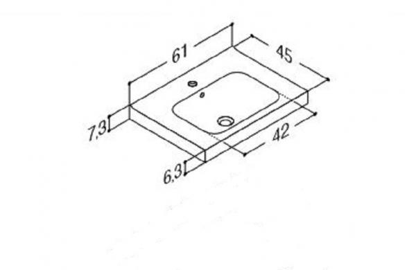 DANSANI 534806003 Porzellanwaschtisch Menuet 61 cm