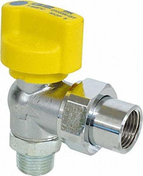 Gasanschlusskugelhahn TSV Eckform 1/2'' verchromt HTB-Ausführung