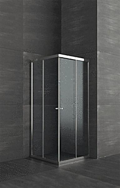 Duschkabine mit Eckeinstieg, Aluschienen silber, 4mm Sicherheits-Glas, 890x790x1850mm, Einstieg 450m