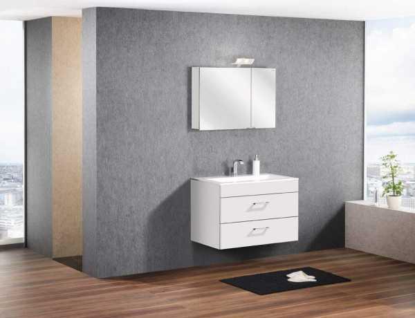 LANZET 7151312 P5 Waschtischunterschrank: 88/60/55, Weiß/Weiß, 2 Schubladen