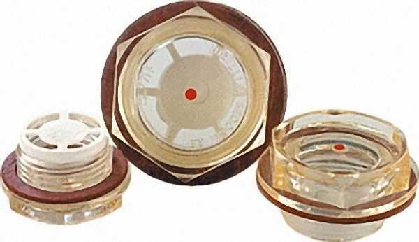 Ölschaugläser Form B mit Reflektor Kunststoff weiß () M 18 x 1, 5