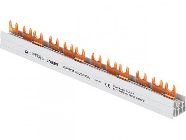 Hager Phasenschiene KDN363A (3P) 63A, 10mm², Länge: 210mm Schraubtechnik/ Quick Connect