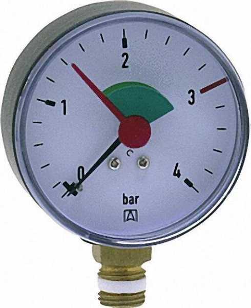 Heizungsmanometer radial 63mm durch, 1/4'' mit selbstdicht. Teflonring