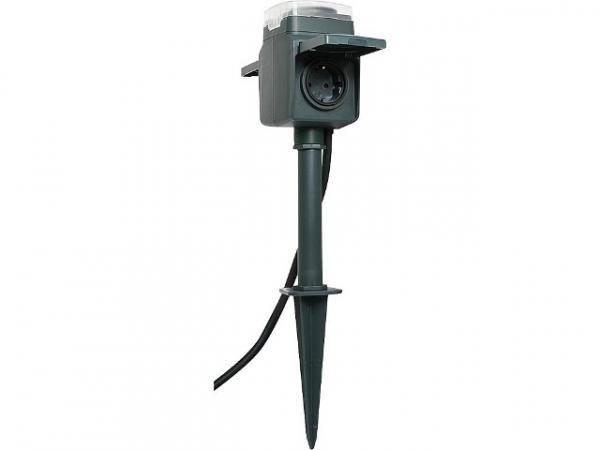 2-fach Gartensteckdose mit Zeitschaltuhr und Erdspieß Farbe schwarz, Kabel 1.4m