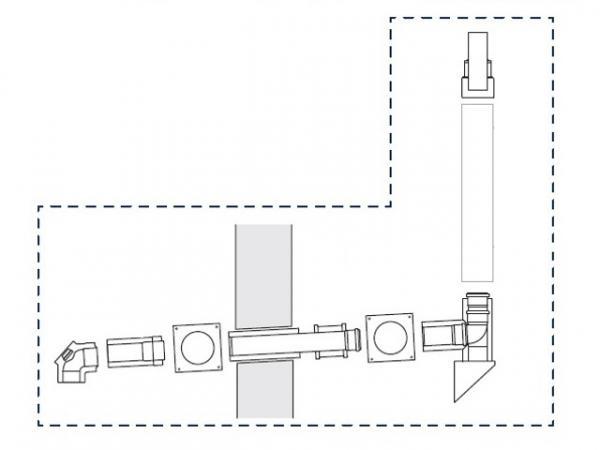 Buderus Abgassystem Grundbausatz GAF-K, Ø 80/125 mm, rlu, Wandgeräte/SB105/GB102S, 7738112565