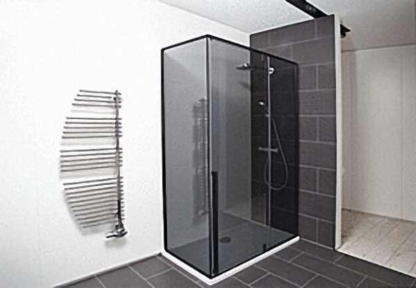 Eck-Duschkabine, Eingang 680mm, Tür+Seitenwand rechts, Fixteil links, 1200x700mm