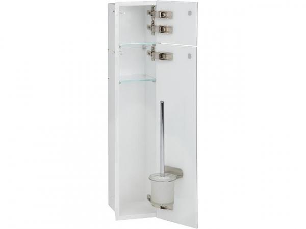 WC Wandcontainer Unterputz, innen weiß, 2 graue Glastüren, 1 Leerfach, Anschlag rechts, BxH: 180x825 mm, Einbaucontainer Wandnische Edelstah