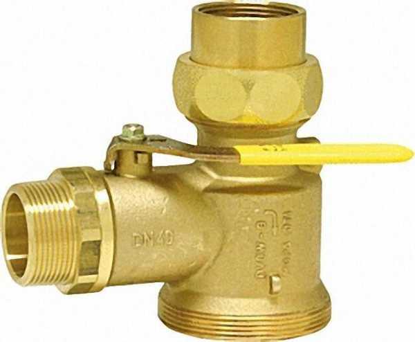 Gasabsperrkugelhahn DN 40 (1 1/2'') für Einrohrgaszähler mit Prüföffnung