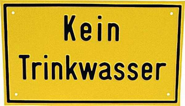 Hinweisschild ''Kein Trinkwasser'' Farbe gelb, 12 x 20cm Aluminium
