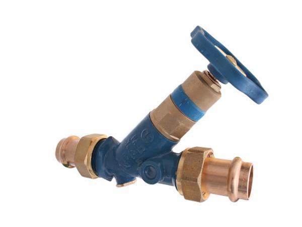 KFR-Ventil, Serie Blue-tec, mit Pressanschluss (Außengewinde) MULTI, ohne Entleerung, mit nicht steigender Spindel, DN20, Pressdurchmesser 1