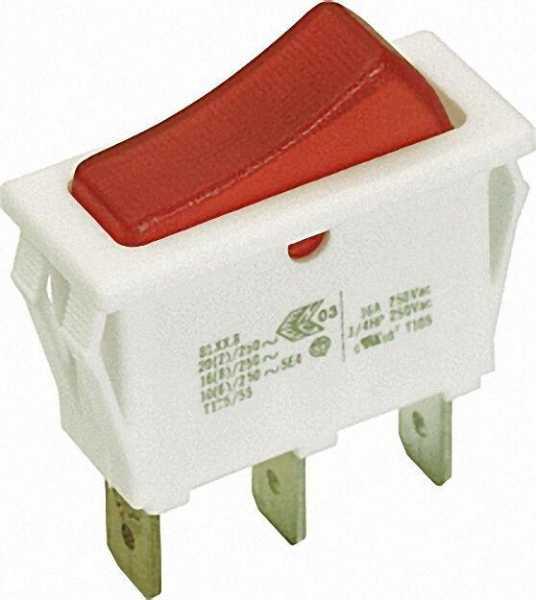 Wipp-Schalter weiß 16 A Löt-/Steckanschluss 6, 3mm mit Kontrollampe rot