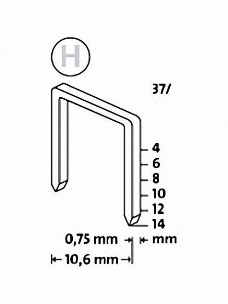 Tackerklammern Typ H 37/6 superhart, verzinkt VPE = 5000 Stück