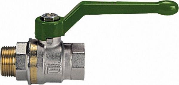 EFFEBI Messingkugelhahn ASTER ACS IG/AG 3/4'' DVGW-zertifiziert mit grünem Aluminium Handhebel