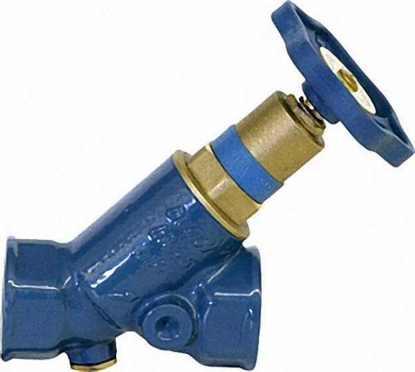 SCHLÖSSER Blue-t Schrägsitzventil DN25/1'' nichtsteigende Spindel KFR IG x IG/ohne Entleerung