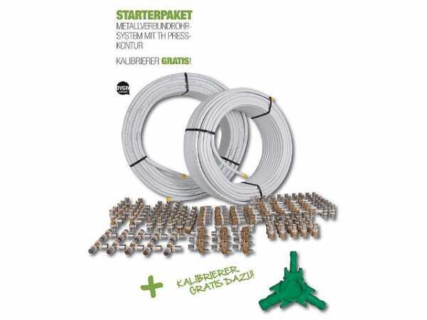 Fußbodenheizung Starterpaket mit Alu-Verbundrohr und Fittings mit TH Presskontur