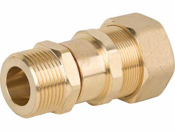 Verschraubung für Spiralrohr DN20x1' AG-Flachd. Messing Graphit Hochtemperaturdichtung