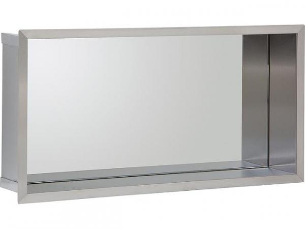Wandnische Edelstahl, Spiegelrückwand, Tiefe 100 mm, BxH: 625x325 mm Bad Edelstahl-Wandeinbaunische
