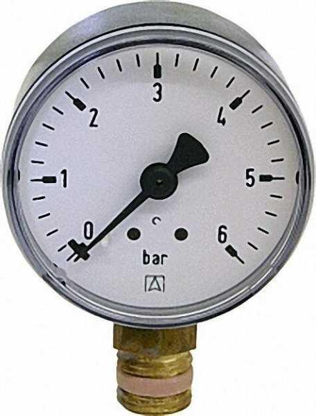 RF Manometer 50 radial 0-6 bar, Anschluss 1/4'' radial (unten)