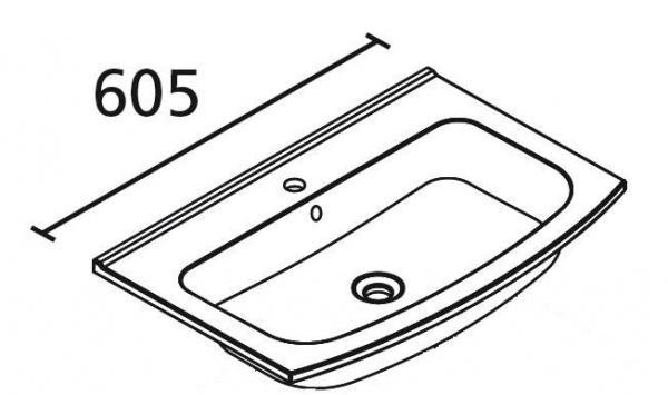 LANZET 7217912 S2 Guss-Waschtisch, 60x2x45,5cm, weiß