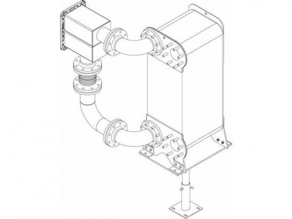 Buderus 7736613107 Wärmetauschergruppe Kaskade GB402-900 Wärmetauscher DN100, PN16, Verrohrung WT
