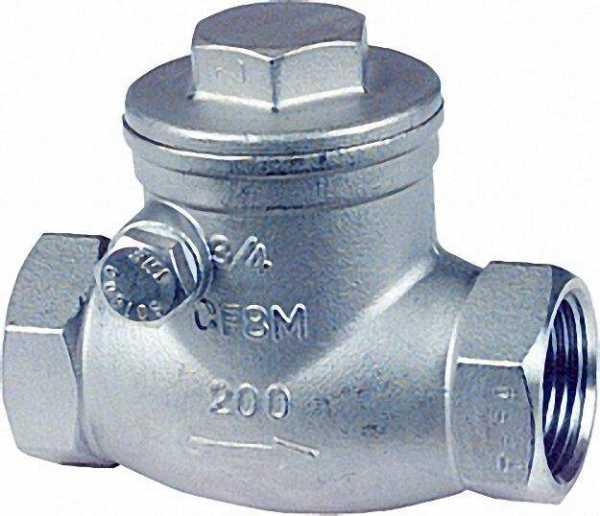 Muffenrückschlagklappe aus Edelstahl Werkstoff 1.4408 PN 14 2'' A-690 T